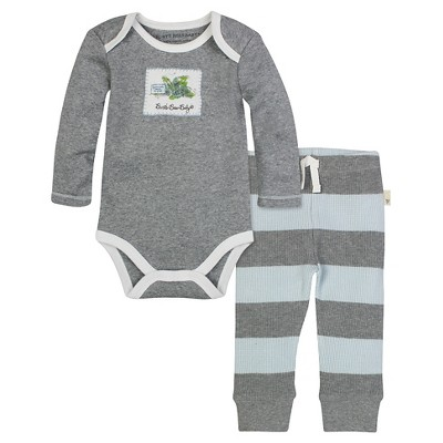 Burt's Bees Baby™ Boys' Long-sleeve Watercolor Bodysuit and Thermal Pant Set - Blue Sky 0-3M