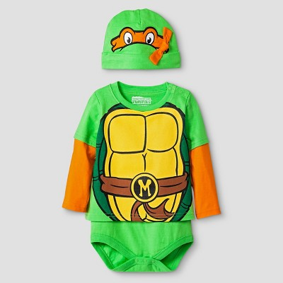 Teenage Mutant Ninja Turtles Baby Boys' Long-sleeve Hangdown T-Shirt Bodysuit and Hat Set 0-3M