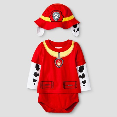 Paw Patrol Baby Boys' Long-sleeve Gangdown T-Shirt Bodysuit & Hat Set 0-3M