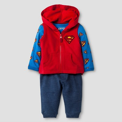 Superman Baby Boys' Long-sleeve Bodysuit, Fleece Vest & Jogger Pant Set 6-9M