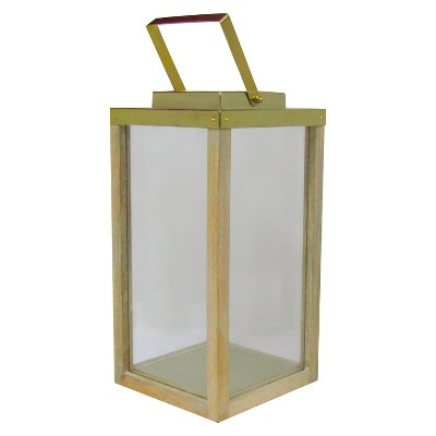 Large Wooden Lantern with Steel Brass Smith & Hawken™