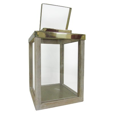 Small Wooden Lantern with Steel Brass Smith & Hawken™