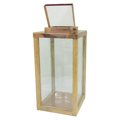 Large Wooden Lantern with Steel Copper Smith & Hawken™