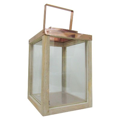Small Wooden Lantern with Steel Copper Smith & Hawken™