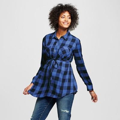 Maternity Buffalo Plaid Button-up Tunic Blue & Black Buffalo Check - M - Liz Lange® for Target