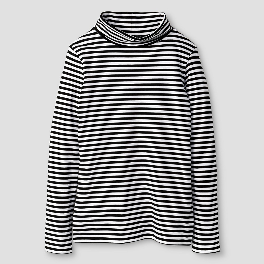 Plus Size Girls' Turtleneck Stripe T-Shirt Cat & Jack - Black Xxl Plu Girl's plus size,  plus size fashion plus size appare