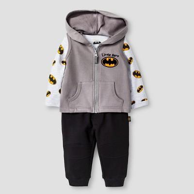 Batman Baby Boys' Long-sleeve Bodysuit, Fleece Vest & Jogger Pant 3 Piece Set NB