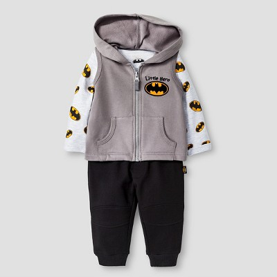 Batman Baby Boys' Long-sleeve Bodysuit, Fleece Vest & Jogger Pant 3 Piece Set 12M