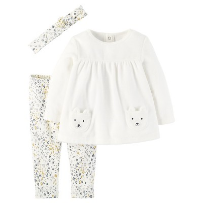 Just One You™Made by Carter's® Baby Girls' 3 Piece Top, Pant and Hair Bow Set 3M
