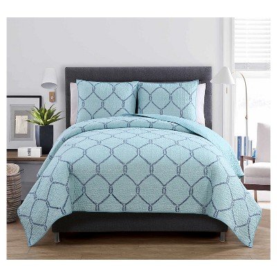 Belmar Quilt Set Full/Queen Light Blue 3 Piece - VCNY®