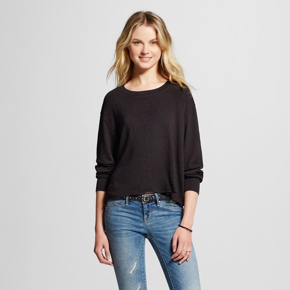 Women's Crew Neck Crop Sweatshirt Black M - Mossimo Supply Co. (Juniors'), Size: Medium