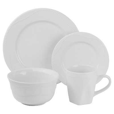 10 Strawberry Street Nova Beaded Round 16-pc. Dinnerware Set - White