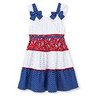Young Hearts Toddler Girls' Tiered Dress with Twin Prints - White