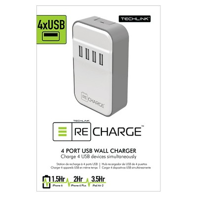Wall Charger - 4 Port USB White