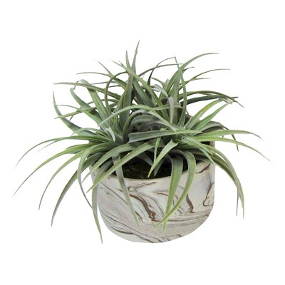 Marble Pot with Green Artificial Plant - Threshold™