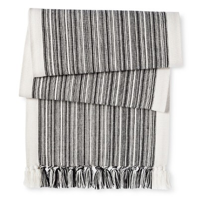 "Varigated Stripe Runner with Fringe White - (72"") - Threshold™"