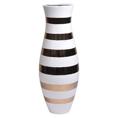 "Tall Vase White with Gold Stripes (18"")"