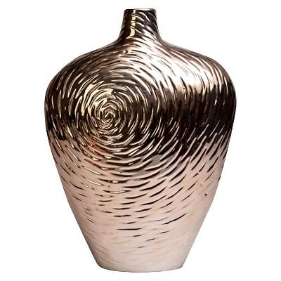 Vase with Rose Design Metallic Finish