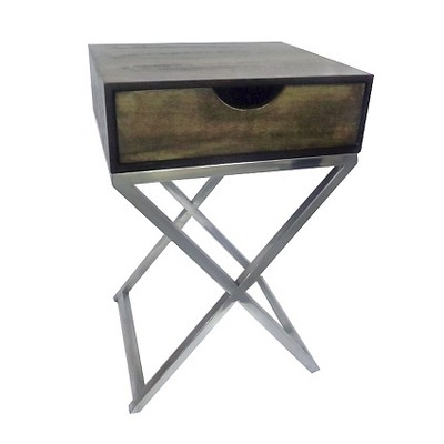 One Drawer Accent Table Silver and Wood - Threshold™