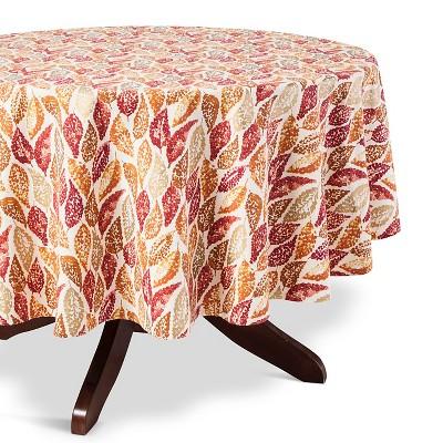"Leaf Tablecloth Tan - (70"" Round) - Threshold™"