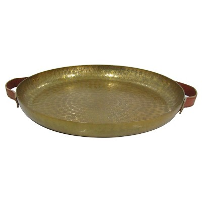 Decorative Round Tray Metal & Leather  - Threshold™