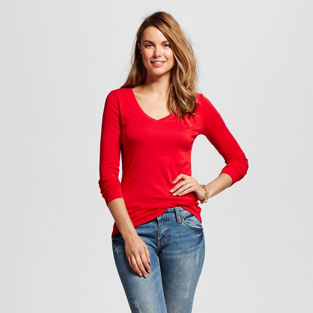Women's Long Sleeve Vee Tee Red Xxl - Merona, Red Pop