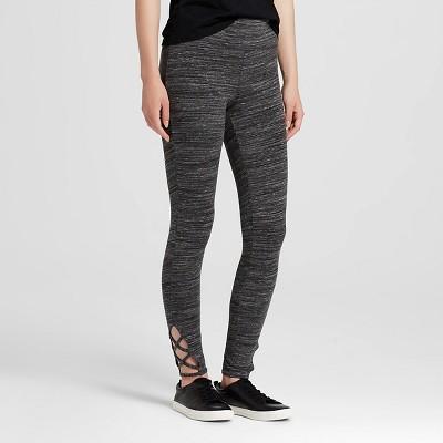 Women's Yoga Capri with Lattice Detail Black Heather L - Mossimo Supply Co.™ (Juniors')