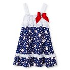 Young Hearts Toddler Girls' Ruffle Dress with  Poplin Skirt - White