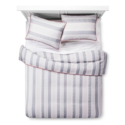 Freemont Striped Duvet Cover and Sham Set (Full/Queen) Blue & Red 3-Piece - Beekman 1802 FarmHouse™