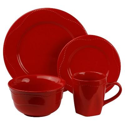 10 Strawberry Street Nova Beaded Round 16-pc. Dinnerware Set - Red