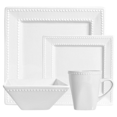 10 Strawberry Street Nova Beaded Square 16-pc. Dinnerware Set - White