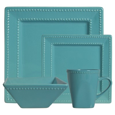 10 Strawberry Street Nova Beaded Square 16-pc. Dinnerware Set - Teal