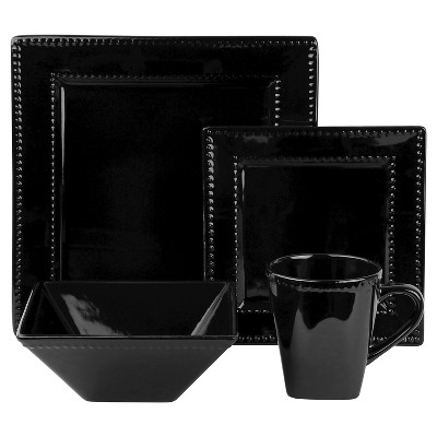 10 Strawberry Street Nova Beaded Square 16-pc. Dinnerware Set - Black