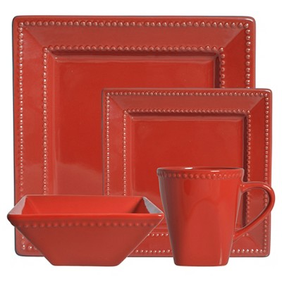 10 Strawberry Street Nova Beaded Square 16-pc. Dinnerware Set - Red
