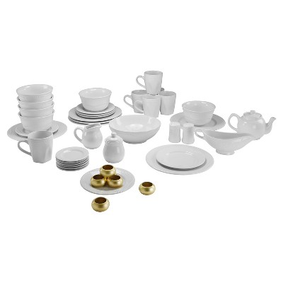 10 Strawberry Street Nova Beaded Round 45-pc. Dinnerware Set - White