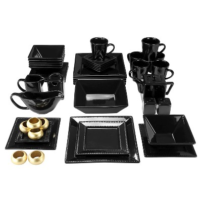 10 Strawberry Street Nova Beaded Square 45-pc. Dinnerware Set - Black