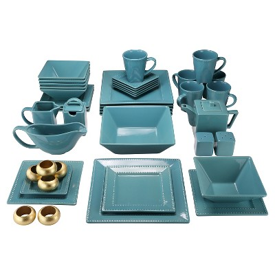 10 Strawberry Street Nova Beaded Square 45-pc. Dinnerware Set - Teal