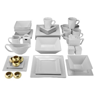 10 Strawberry Street Nova Beaded Square 45pc Dinnerware Set - White