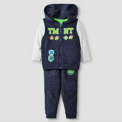 Baby Boys' TMNT® 3-Piece Vest, T-Shirt, and Sweatpant Set - 18 M