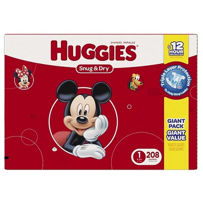 Huggies Snug & Dry Diapers, Giant Pack - Size 1  (208 Count)