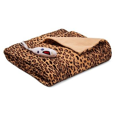 Heated Microplush Throw Leopard Tan - Biddeford