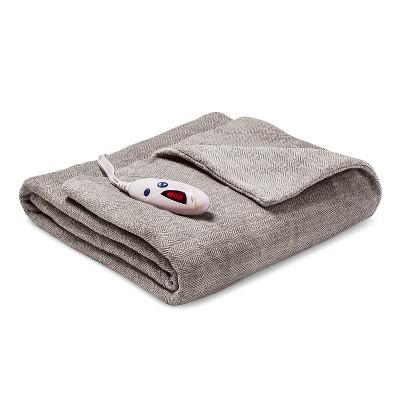 Heated Microplush Throw Gray Herringbone - Biddeford
