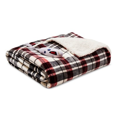 Heated Velour with Sherpa Throw Linen Plaid - Biddeford