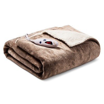 Heated Velour with Sherpa Throw Heather Brown - Biddeford