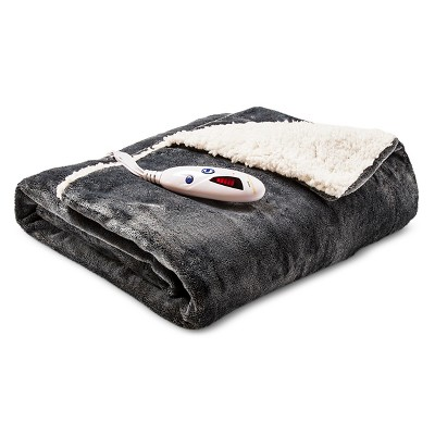 Heated Velour with Sherpa Throw Heather Gray - Biddeford