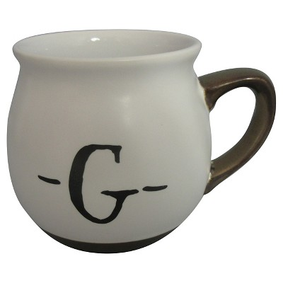 Monogram Belly Mug 16oz Stoneware White - G - Threshold™