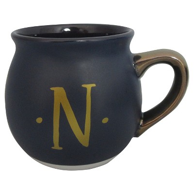 Monogram Belly Mug 16oz Stoneware Navy - N - Threshold™