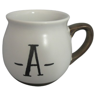 Monogram Belly Mug 16oz Stoneware White - A - Threshold™