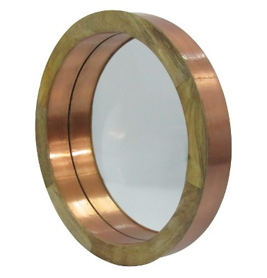 Porthole Round Mirror Copper and Wood - Threshold™