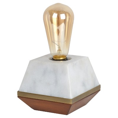 Edison Bulb Wood & Marble Table Lamp (Includes CFL Bulb) - Threshold™